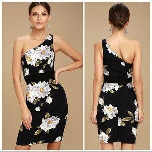 Lulu's Save Me A Dance Floral One Shoulder Dress